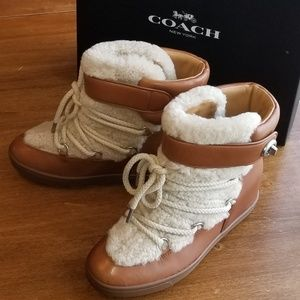 Coach Monroe Shearling Wedge Bootie
